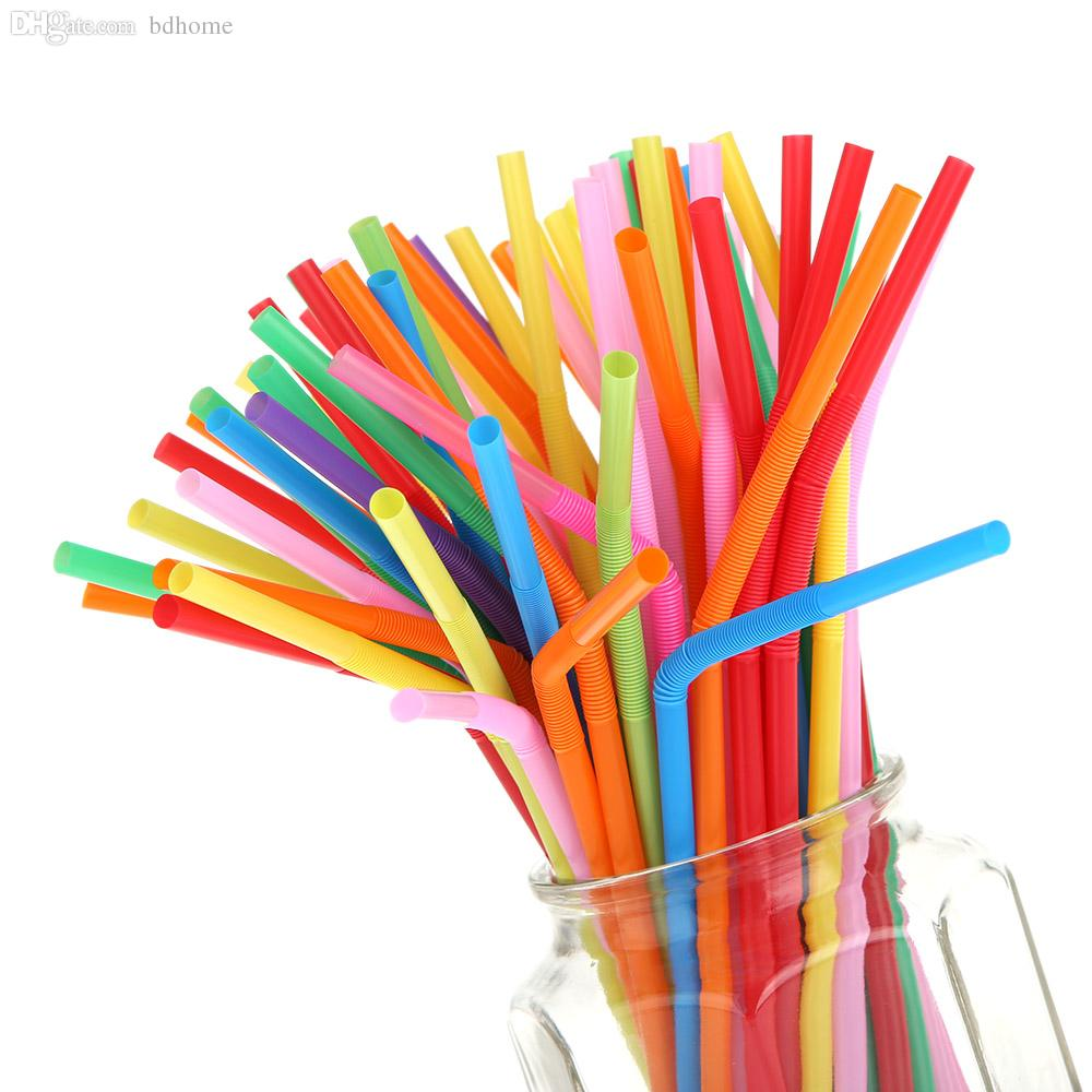 wholesale 26cm multicolor straw long bendy drinking colored plastic
