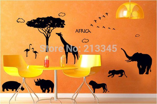[Fundecor] africa safari wall sticker kids room bedroom cartoon animals decor sticker lion elephant giraffe black 6863