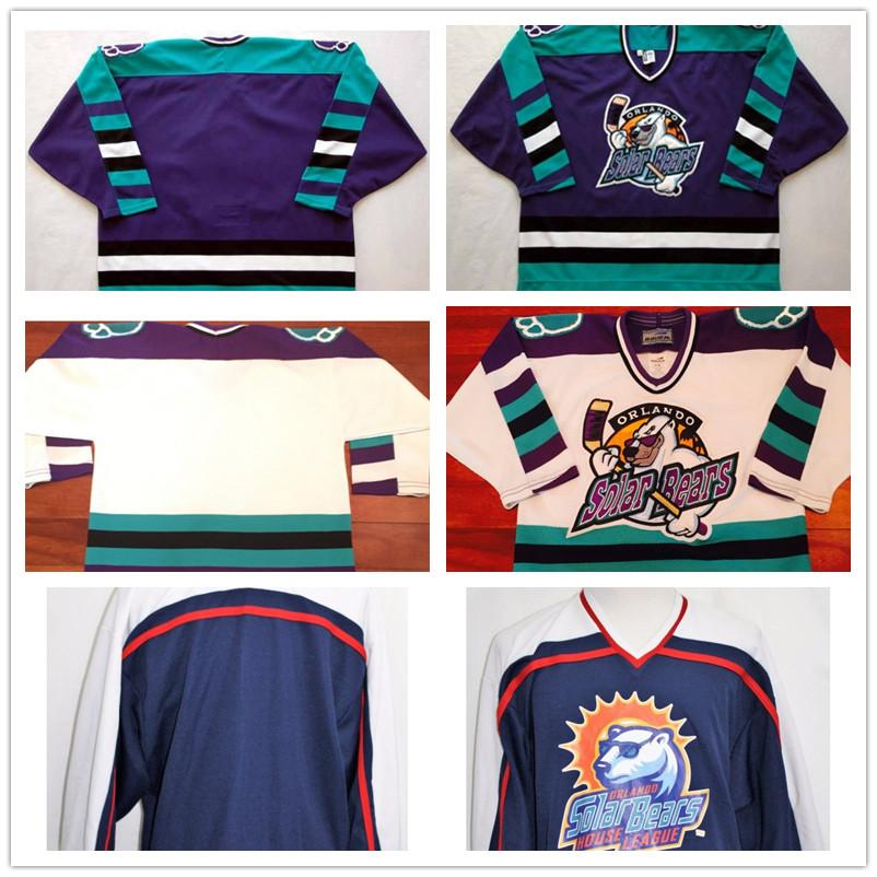 6538b933 Mens Womens Kids Customize ECHL Orlando Solar Bears Stitched Customized Any  Name And Number Jersey Cheap Hockey Jerseys Goalit Cut
