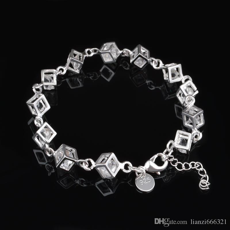 شحن مجاني مع تتبع رقم أعلى بيع 925 الفضة سوار متقلب الأبيض الماس سوار الفضة والمجوهرات 10 قطعة / الوحدة رخيصة 1798