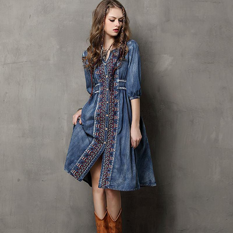 f4ce09c8f19 2019 Vestidos Maxi Dress Empire Waist Embroidery Denim Dress Women Dress V  Neck Half Sleeve Bohemian Knee Length Dress From Jack16999