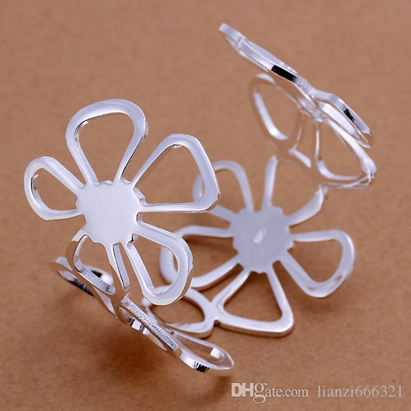 NEW 925 STERLING SILVER FOUR BIG FLOWERS WIDE CUFF BANGLE BRACELETS JEWELRY 925 Silver Bracelet fashion top grade jewelry 1325
