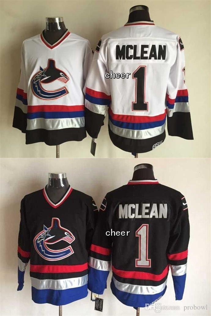 2015 Newest Wholesale Men s Vancouver Canucks  1 Mclean Black White  Throwback Jersey Ice Hockey Jerseys 1ee257946