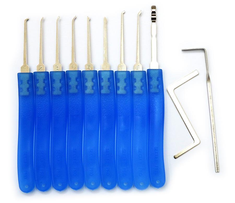 9 قطع الفولاذ المقاوم للصدأ قفل اللقطات مجموعة قفل اختيار أداة قفل اختيار أدوات مجموعة قفل فتح أدوات الأقفال - شفافة أزرق