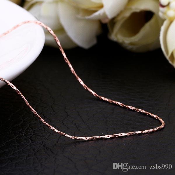Высокое качество 18K золото цепи ожерелье 1.5 MM 0.5MMX18inches ювелирные изделия свадебный подарок бесплатная доставка