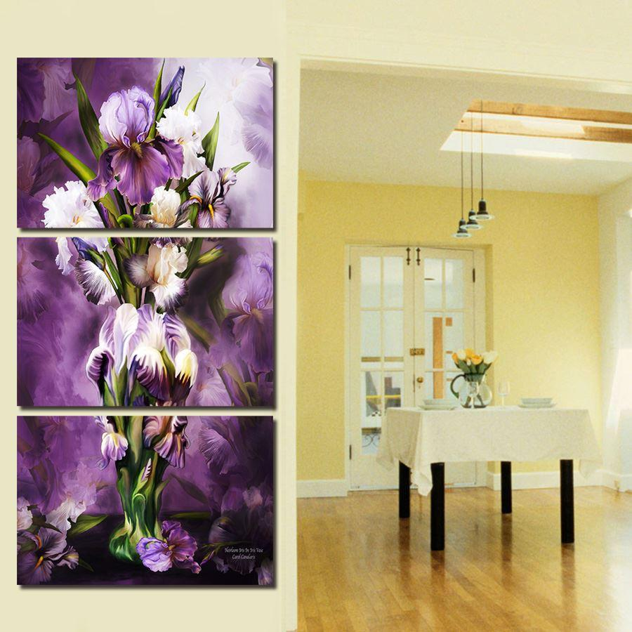 2018 Canvas Prints 4 Panels Modern Wall Painting Beautiful Purple ...