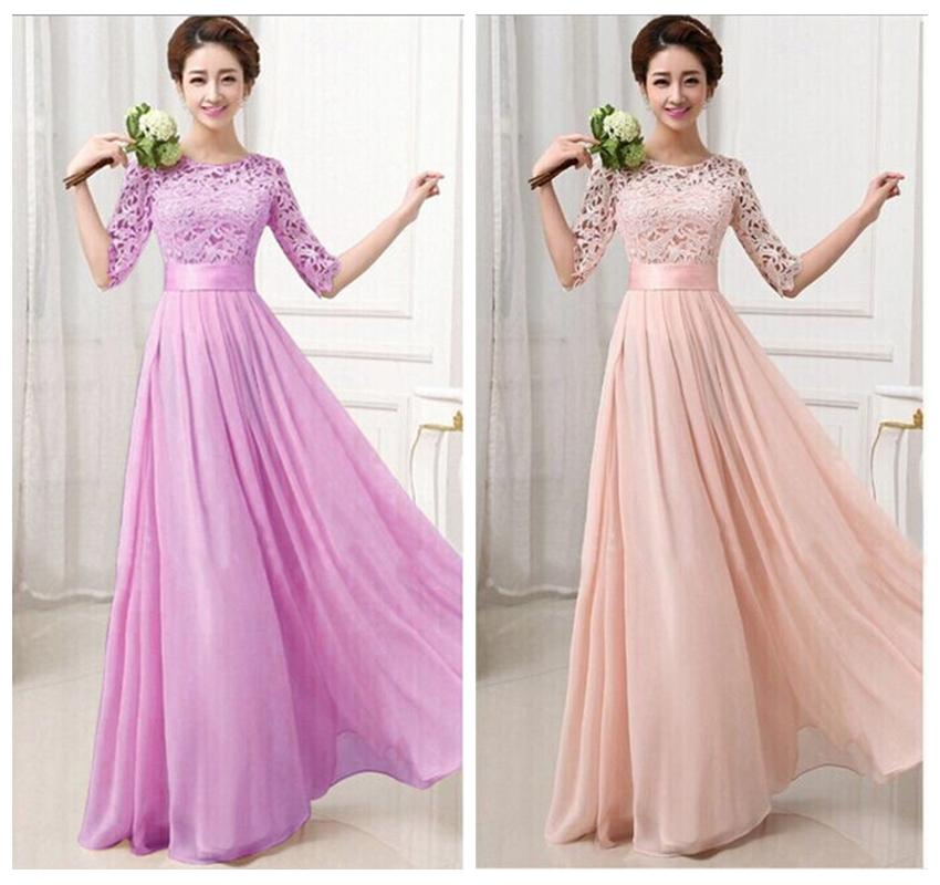 S Xxl Pink Vestidos De Chiffon Bridesmaids Bridemaid Long Dress ...