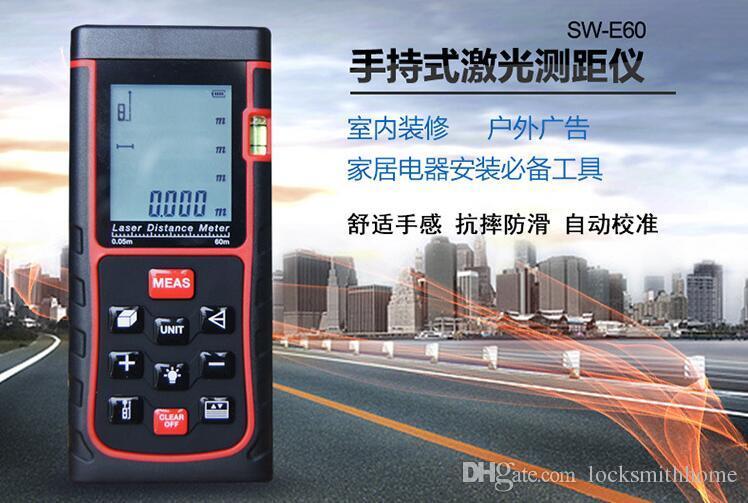 Protable Digital LCD Hand held Laser Distance 60M Diameter Meter Measure Finder Length, area, volume, Pythagorean theorem measurement