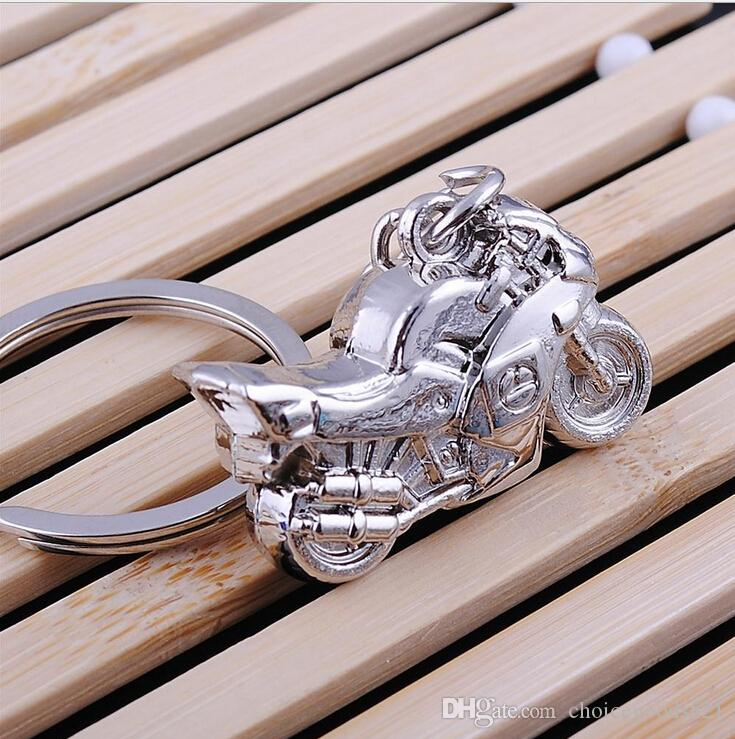 Hot 3D Model Motorcycle Key Ring Chain Motor Silver Keychain New Fashion Cute Gift