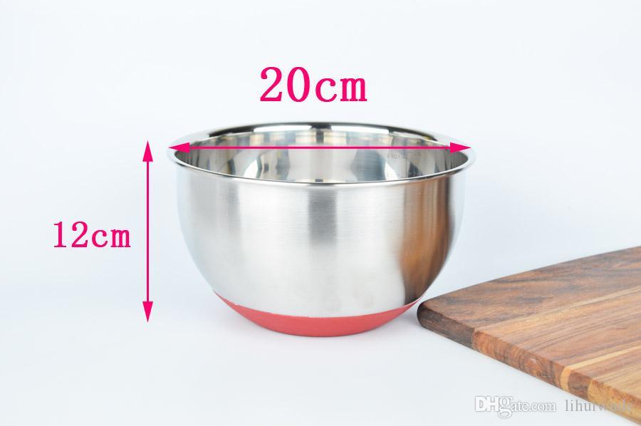 스테인레스 스틸 논 스키드베이스 믹싱 그릇 20cm
