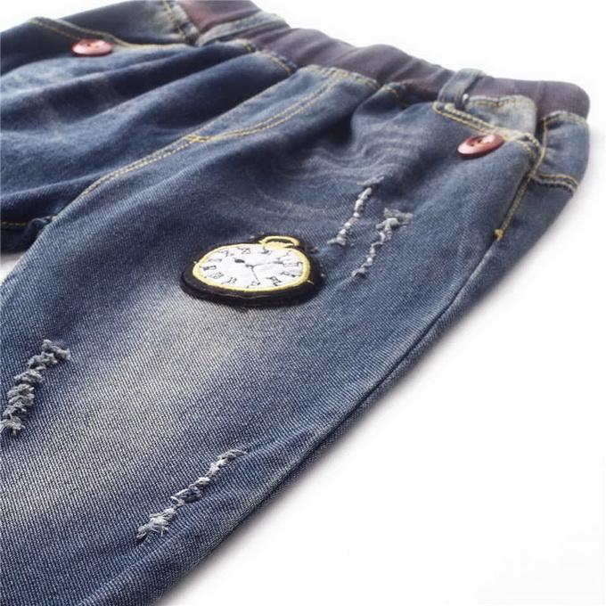 Brand 2016 Retail Top Sale Boys Cartoon Watch Pattern Jeans Autumn Ruffle Boys Trousers Kids Clothing PT81016-4