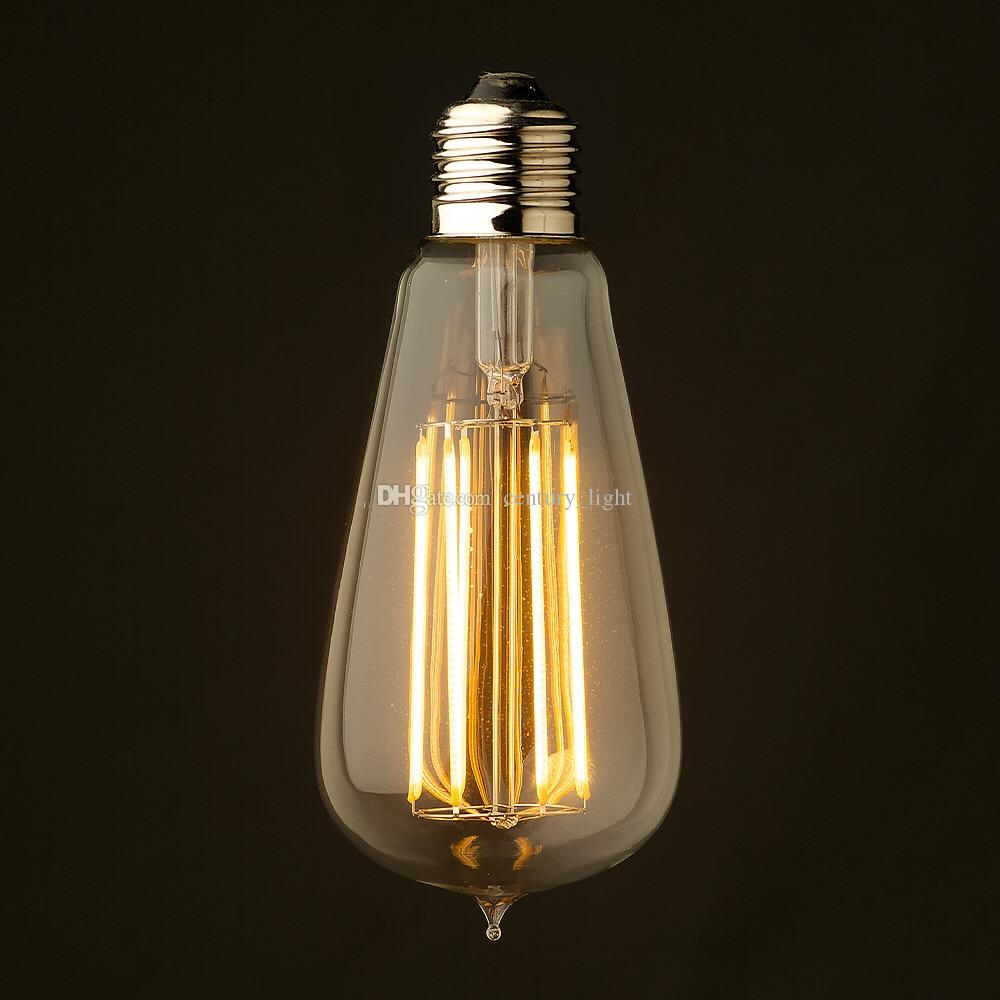 vintage led long filament bulb 4w 6w 8w super warm 2200k edison classic st19 st64 certified by. Black Bedroom Furniture Sets. Home Design Ideas