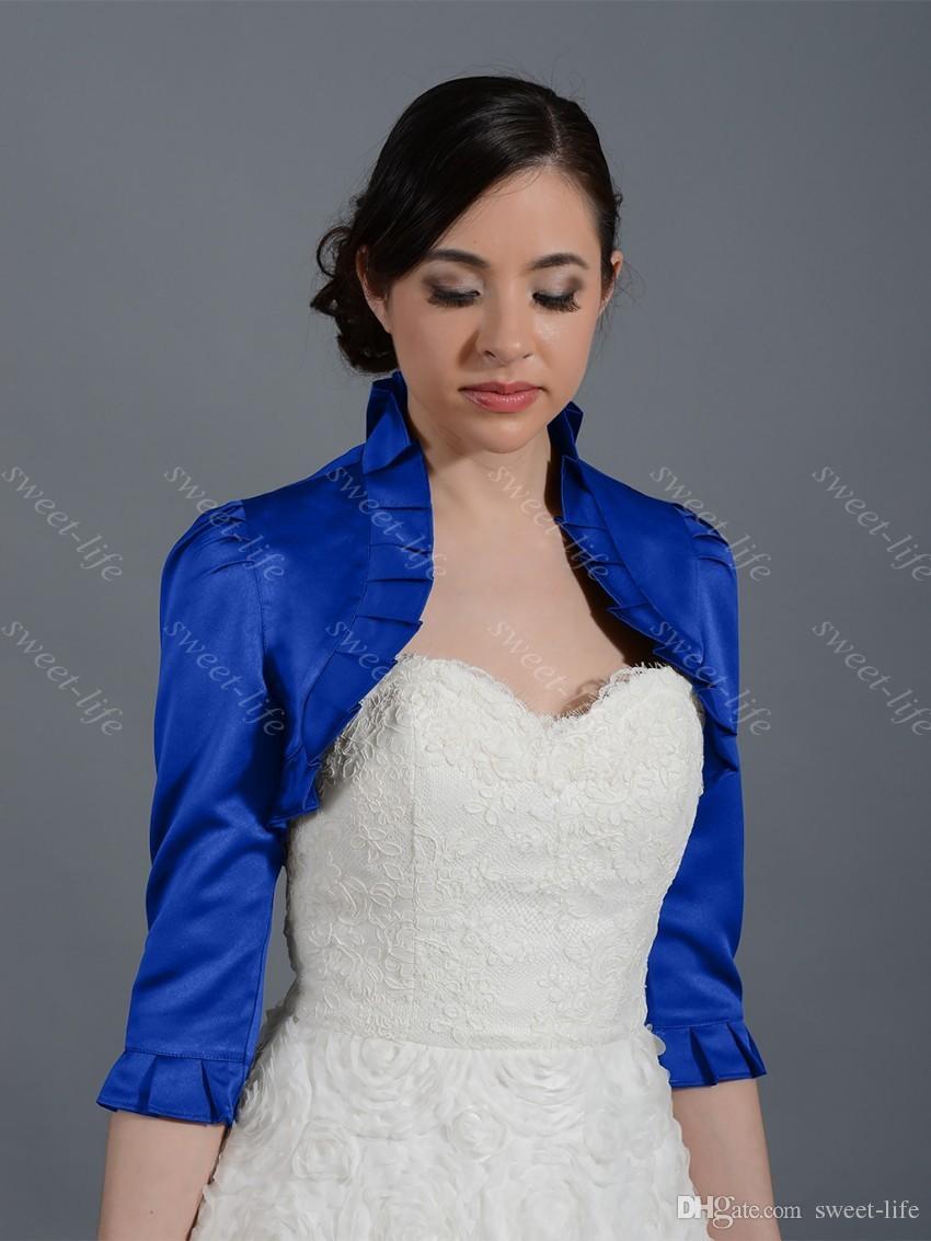 2019 Винтаж белый слоновая кость свадебные Болеро куртка Cap Wrap пожимает плечами пользовательские атласная Половина рукава передняя Открытая Куртка для свадебного вечернего платья