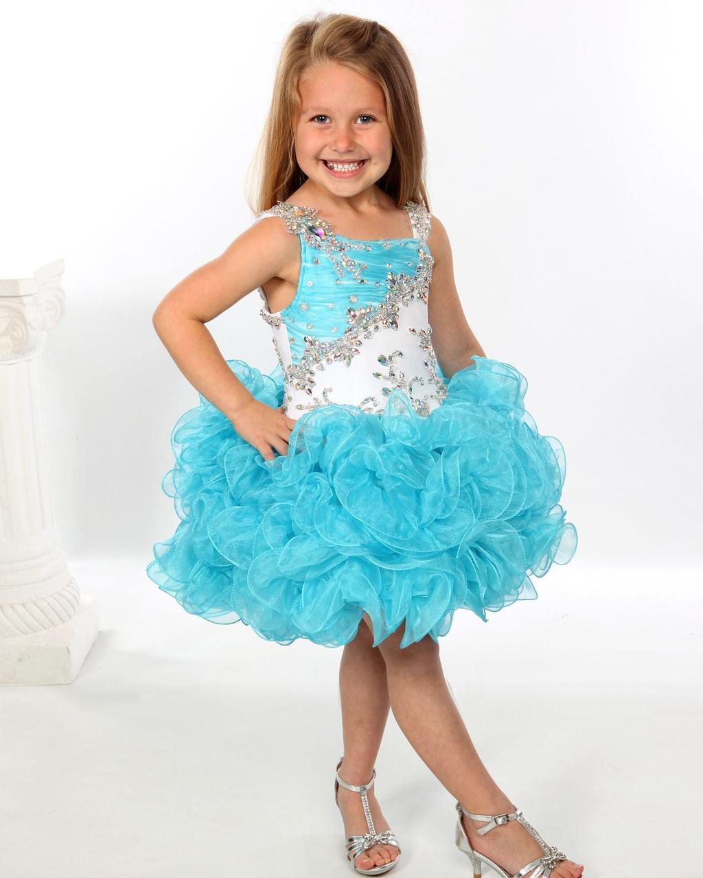 2019 Flower Girls' Dresses Newest Girls Pageant Dress Sequins Beaded Straps Ruffles Organza Cupcake Toddlers Infant Kids Short Skirts