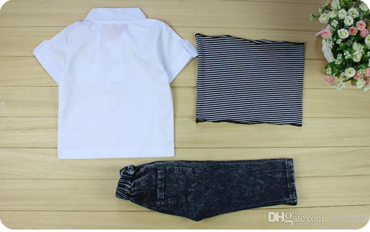 Conjuntos para niños Conjunto para niños Traje para niños Cool Baby Niños Ropa para niños Jeans Bufanda Camiseta 3 fotos 2017 Nueva moda
