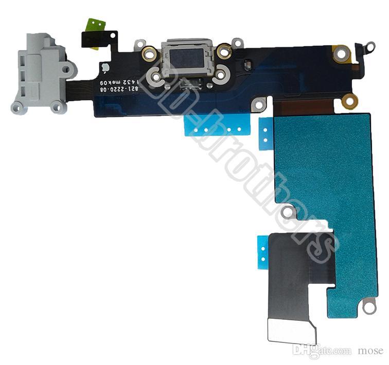 100% Orijinal Şarj Dock Bağlantı Şarj Port Flex Kablo Ile Ses Kulaklık Jakı 4.7 inç iPhone6 Için G / 5.5 inç iPhone 6 Artı 5 adet