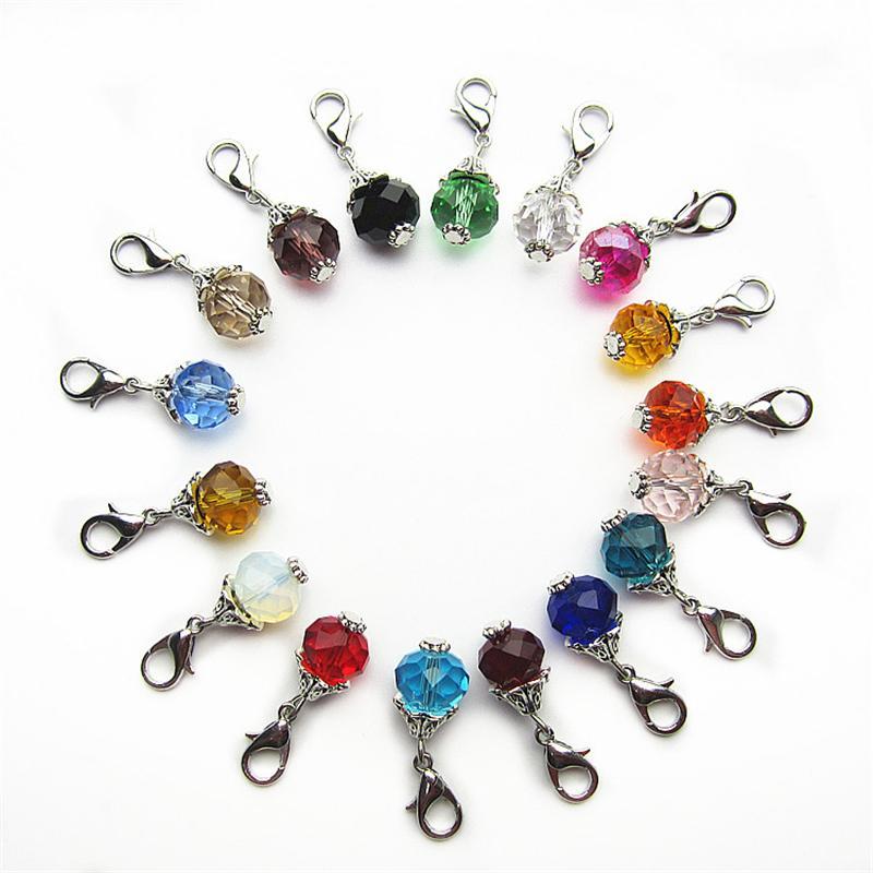 Mix 12 Couleur 10mm perles perle charmes Dangle Charmes BRICOLAGE Bracelets Bijoux Accessoire Macroporeux perles Charmes homard fermoir charme