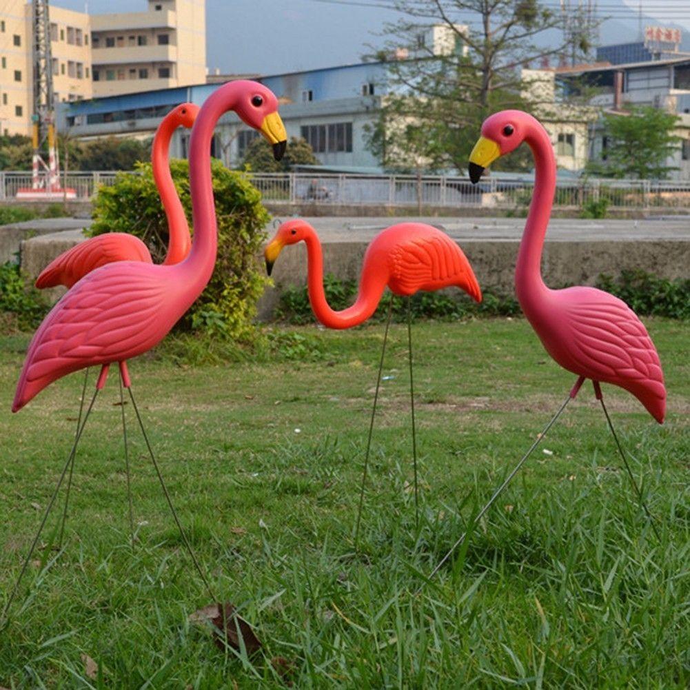 Best Lifelike Artificial Pink Flamingo Ornament Home Garden Lawn ...