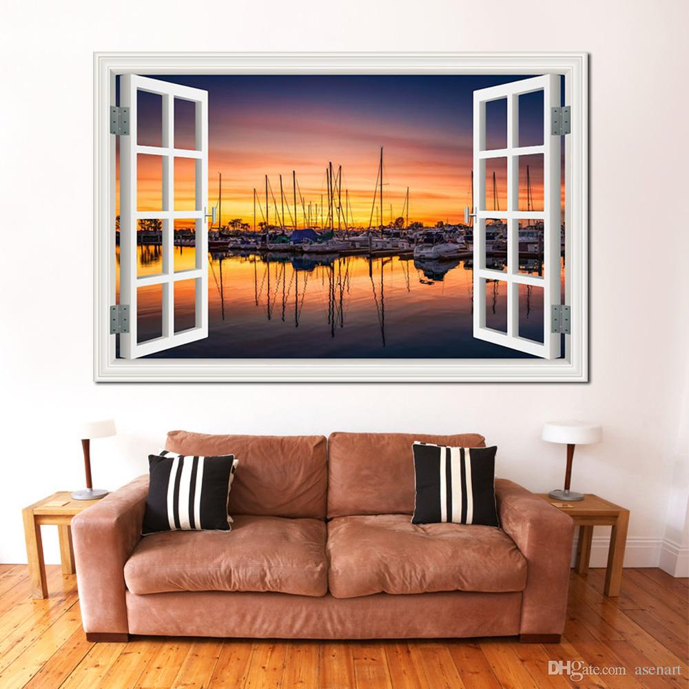 3d Wall Sticker Window View Seaside Sunset Landscape Removable Decal Home  Decoration Accessories Wallpaper Art Decor Wall Murals Stickers Wall Peels  From ...