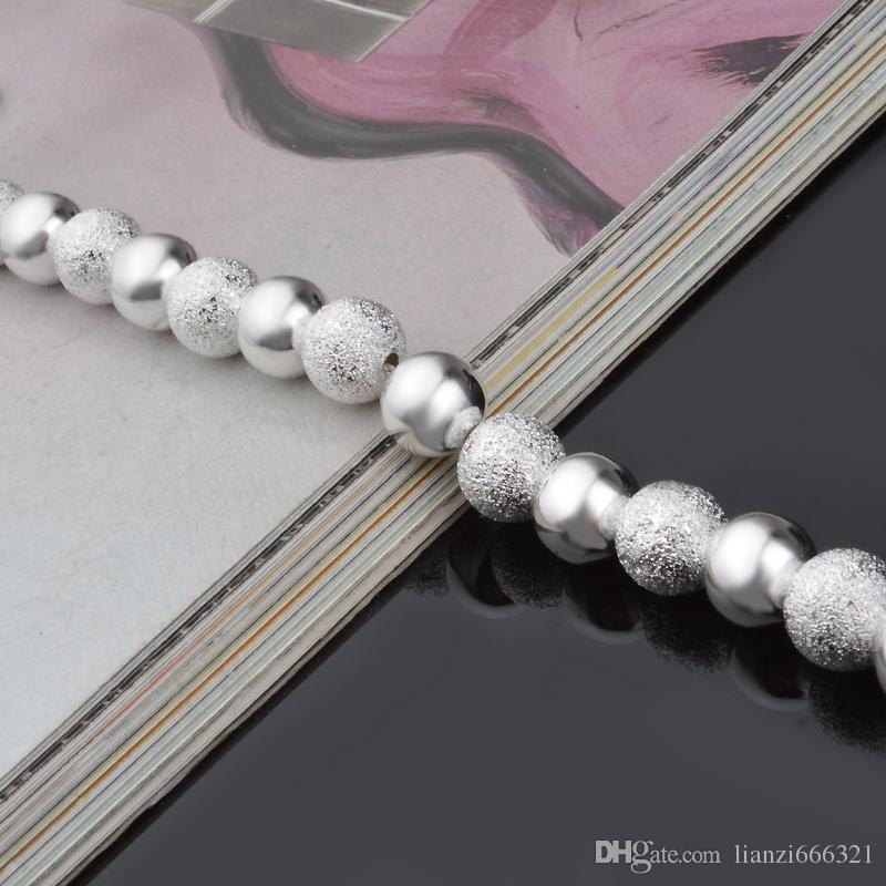 LIVRAISON GRATUITE avec numéro de suivi Top Sale 925 Bracelet en argent Sable entre bracelet de perle de lumière flash Bracelet en argent bijoux / pas cher 1585