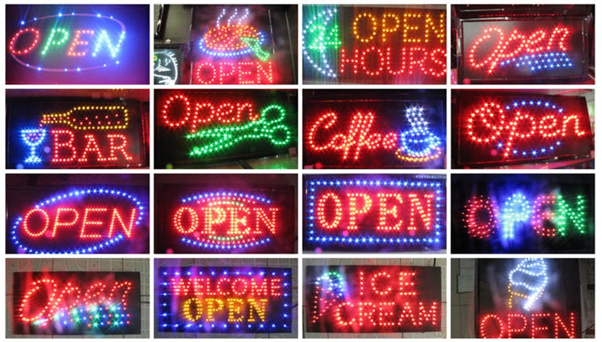 Animated Running LED Business OPEN SIGN +On Off Switch Bright Light Neon
