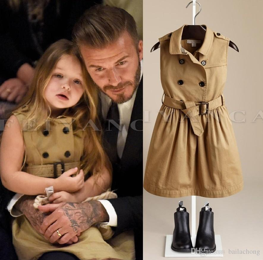 2015 Dress Kids Girls S Preppy Style Double Breasted Children Girl Pinafore  Sleeveless Belt Dresses Princess A5 UK 2019 From Bailachong 73d631f6d
