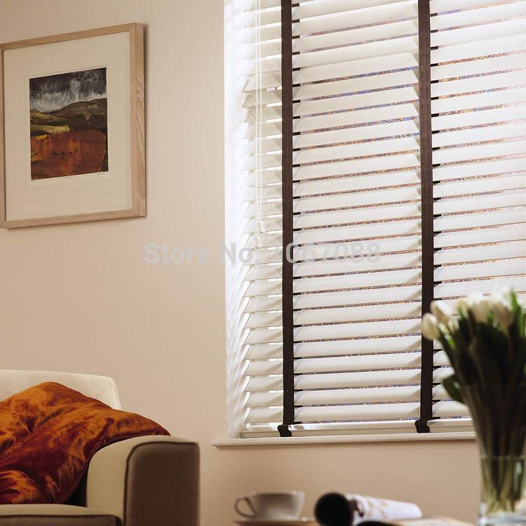 100% Wooden Blinds In White Ladder Belt 5 Cm Wide Blade Blinds For Office  Home
