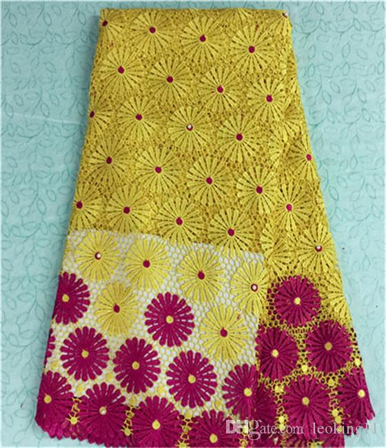 Fashionable french guipure lace fabric wtih yellow+ fuchsia flower african water soluble lace for party dress BW23-4,5yards/pc