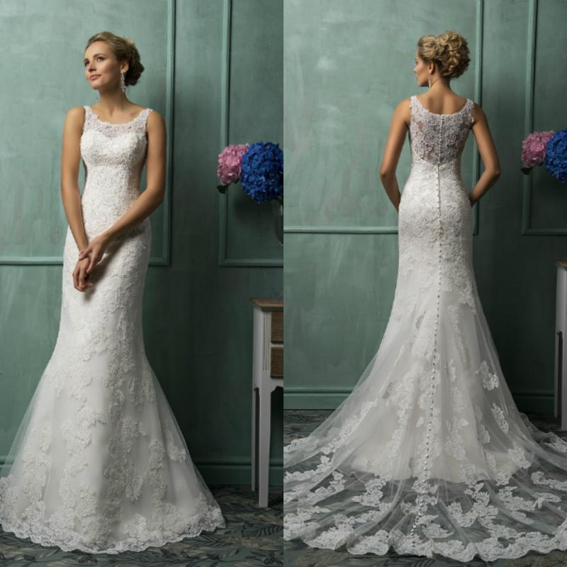 2016 Designer Sheath Wedding Dresses Scoop Vintage Lace Back Wedding ...