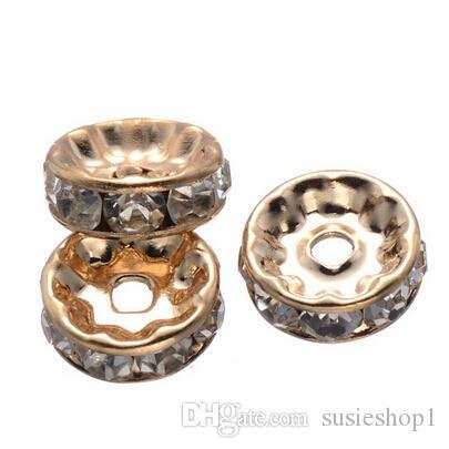 500 stks Rhinestone Rondelle Spacer Beads in 10mm Gunmetal Silver Gold KF Goud 4 kleuren voor optie
