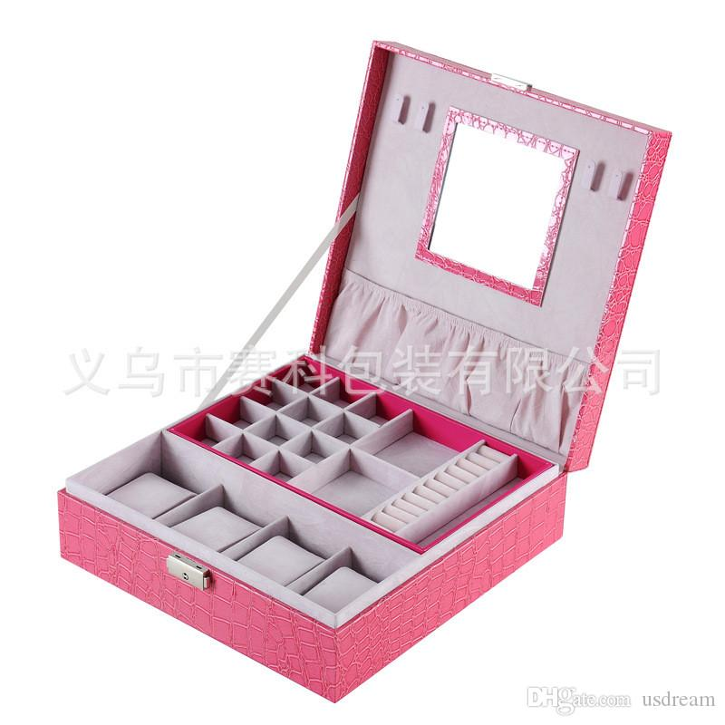 Function Square Pink Crocodile Leather Watch Boxes Jewelry Boxes