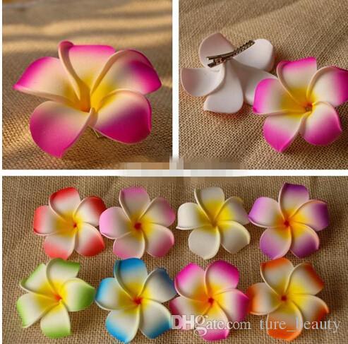 30%off Hawaii beach vacation Frangipani Flower Artificial flowers Bridal Wedding Party foam Hair Clip Plumeria hair accessories