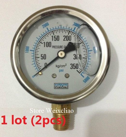 Pressure Gauge 0-350KG/5000psi 1/4PT Vacuum Meter for Hydraulic Power Machine Pressure Gauge Manometer 1