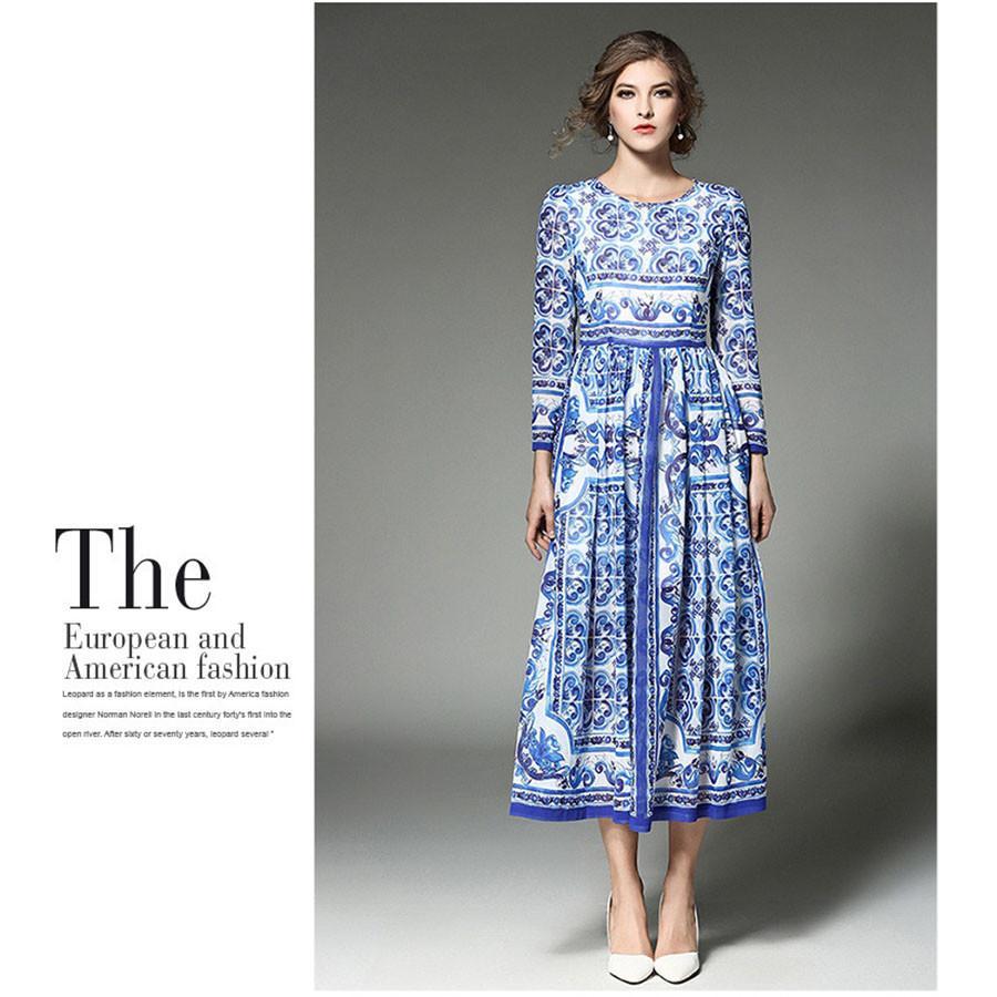 72360395c Estilo europeo vestido de pista mujeres vintage étnico estampado floral vestidos  plisados fiesta 2017 nueva moda primavera túnica femme vestios