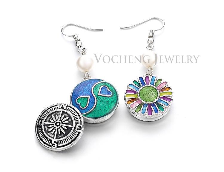 NOOSA الزنجبيل التقط مجوهرات اللؤلؤ القرط ل 18 MM زر أزياء النساء القرط VOCHENG VK-001