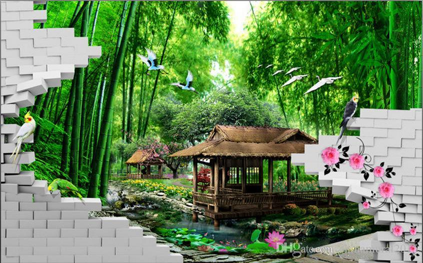 wall mural photo wallpaper Fashion 3D bamboo forest 3d name wallpapers