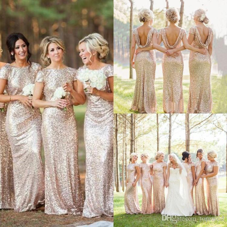 2016 Cheap Gold Sequins Sparkly Bridesmaid Dresses Plus Size Backless 2015  Long Wedding Party Guest Gowns Short Sleeves Custom Made