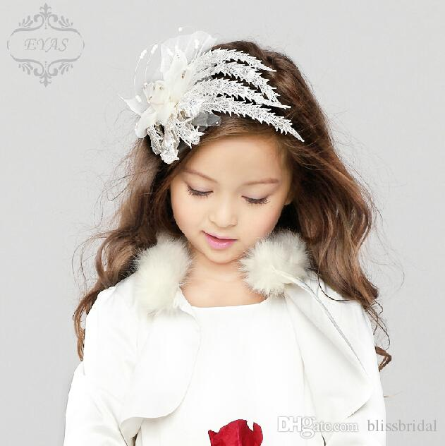 White Flower Girl Headpieces With Feathers Hand Made Flowers Beaded Shiny Head Wear Accessories For Wedding Lace Tulle Kid Haiepins
