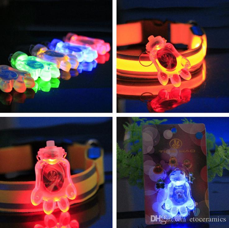 LED knipperende hond tag tag pet led hond naam id tag led dog tag poot, ster, hart, ronde, bot scherp