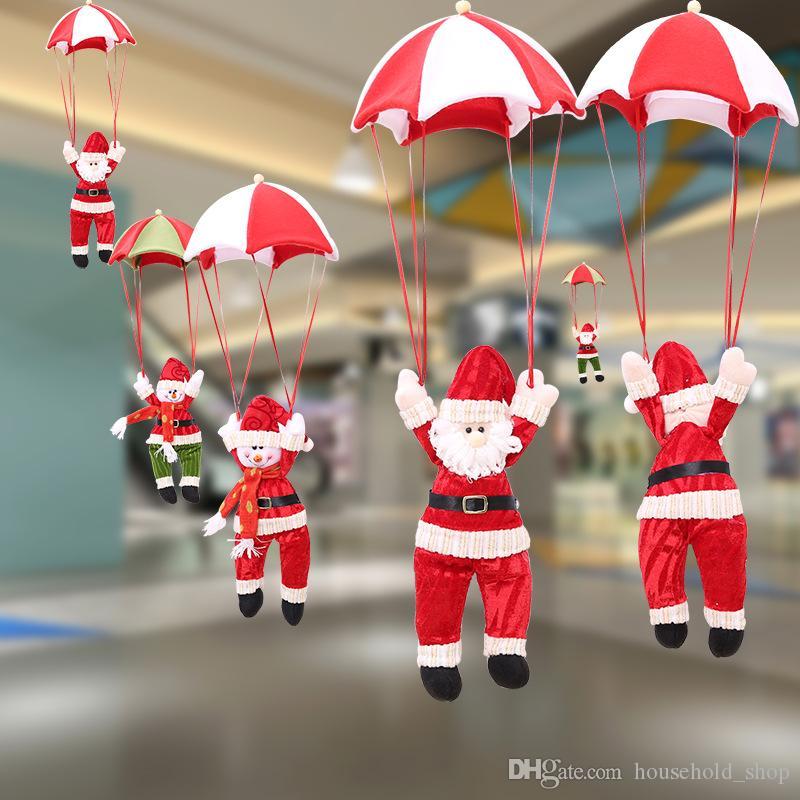 2018 Décorations De Noël Parachute Père Noël Bonhomme De Neige drop ornement 4 types Arbre De Noël Pendentif Fournitures De Mariage Cadeaux De Noël