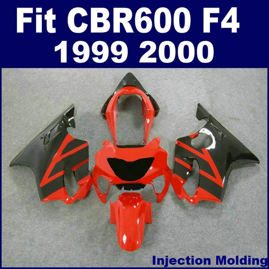 7gifts + 100٪ حقن صب هونج هوندا CBR600 F4 1999 2000 أسود أحمر 99 00 CBR 600 F4 Fairings Kits VGYD