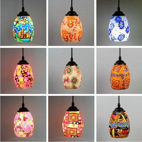 Acheter Douce En Céramique Lampe Suspension En Verre Exotique Et