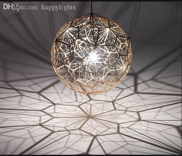 Wholesale Geometry Tom Dixon Etch Web Diamond Pendant Light Lamp Home Bar  Decor Gold Silver Led Christmas Lighting Fixture Small Pendant Lights Metal  ...