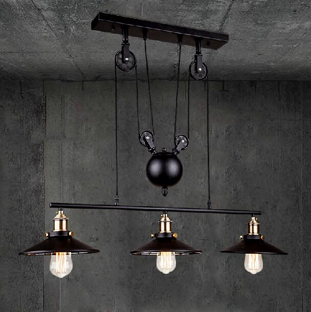 Rh loft vintage iron industrial led american country pulley pendant rh loft vintage iron industrial led american country pulley pendant lights adjustable wire lamp retractable lighting 110v 240v coloured glass pendant lights mozeypictures Image collections