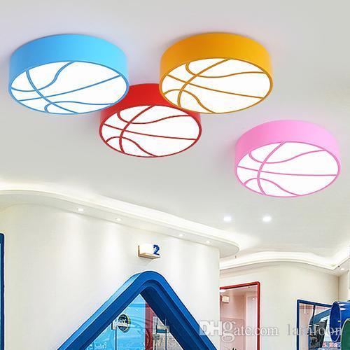 Nouvelle Led Bande Dessinée Lumière Maternelle Lampe Plafonniers De Conception Enfants Chambre Ronde Couleur Basket Ball 5Lq4j3AR
