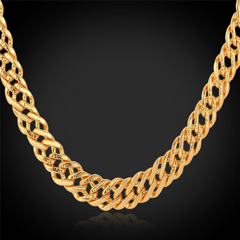 Classic Gold Chain 18K Stamp Women Men Jewelry GoldRose Gold