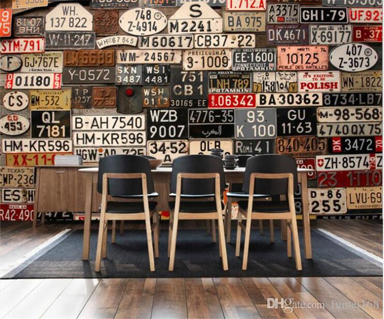 3d three-dimensional personality Europe and the United States nostalgic retro license plate background wallpaper meal milk tea shop wallpape