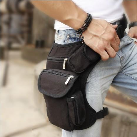 Men S Travle Duffle Black Canvas Leg Bag Wasit Bag Outdor