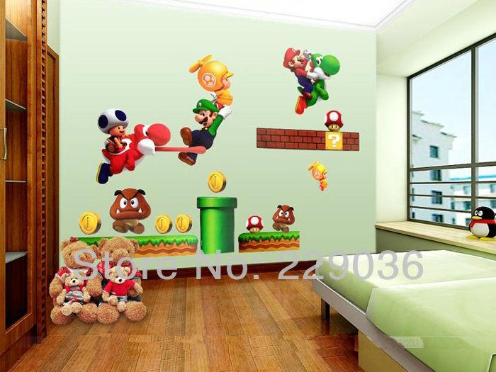 Wholesale-Super Mario Brother Cartoons Wall Sticker For Kids Room DIY Art Decor Removable Free shipping Vinyl Decals 70*50CM
