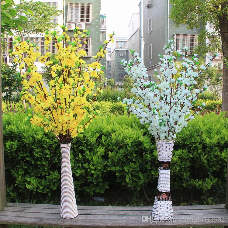 2015 Elegant Peach Blossom Silk Flowers Artificial Peach Branches Christmas Ornament Bouquet Wedding Centerpieces Decorations Supplies
